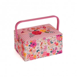 Medium Size Embroidered Sewing Box - Flowery
