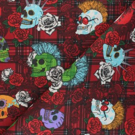 Cretonne cotton fabric - red Punky x 10 cm