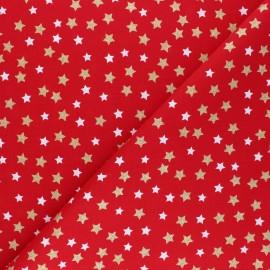 Tissu coton Glitter stars - rouge x 10cm