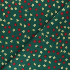 Tissu coton Glitter stars - vert x 10cm