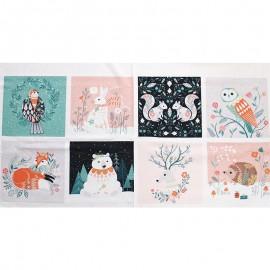 Tissu panneau coton Dashwood Studio Winterwood - blanc x 60cm