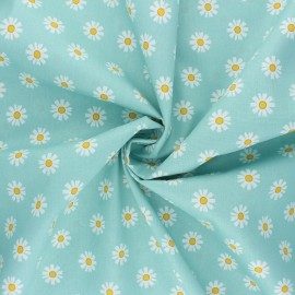 Tissu coton popeline Poppy Daisy Flower - vert d'eau x 10cm