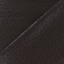 Simili cuir souple perforé fleurs Clara marron x 10cm