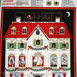 Makower UK cotton fabric Advent Calendar - House x 59cm