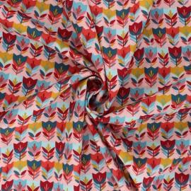 Tissu coton popeline Poppy Happy tulips - rose x 10cm