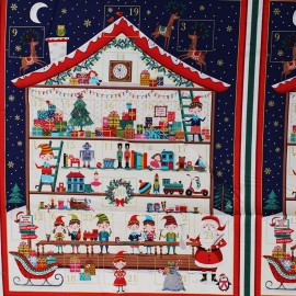 Tissu coton Makower UK Calendrier de l'avent - Santa's workshop x 59cm
