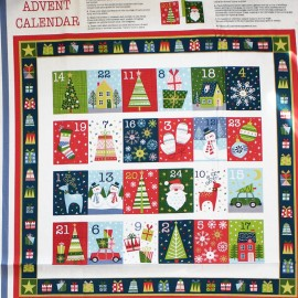 Makower UK cotton fabric Advent Calendar - Winter season x 59cm