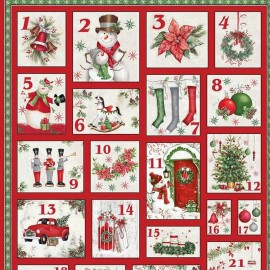 Cotton fabric Advent Calendar - December Magic x 89cm