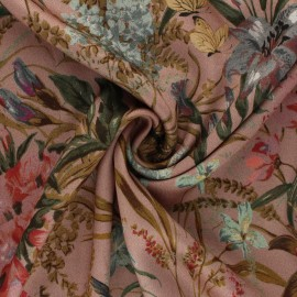 Tissu viscose Songes Printaniers - vieux rose x 10cm