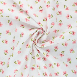 Poppy poplin cotton Fabric - white Flower B x 10cm