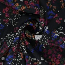 Tissu crêpe de viscose Paysage fleuri - noir x 10cm