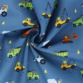 Poppy poplin cotton fabric - blue Workplace x 10cm