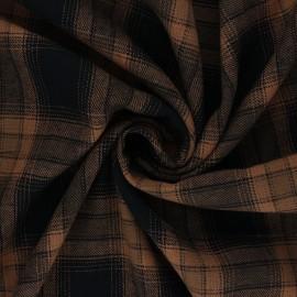 Tissu polycoton à carreaux Dunearn - marron x 10cm