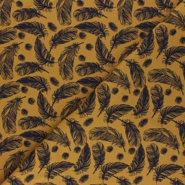 Printed Jersey fabric - mustard yellow Plumes légères x 10cm