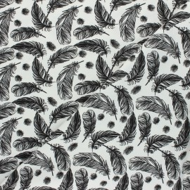 Printed Jersey fabric - off-white Plumes légères x 10cm