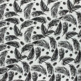 Tissu jersey Plumes légères - blanc cassé x 10cm