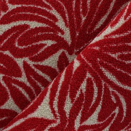 Woven anti-slip carpet fabric - red Ulysse x 10cm