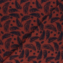 Printed Jersey fabric - red-bick Plumes légères x 10cm