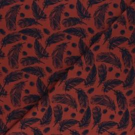 Tissu jersey Plumes légères - tomette x 10cm