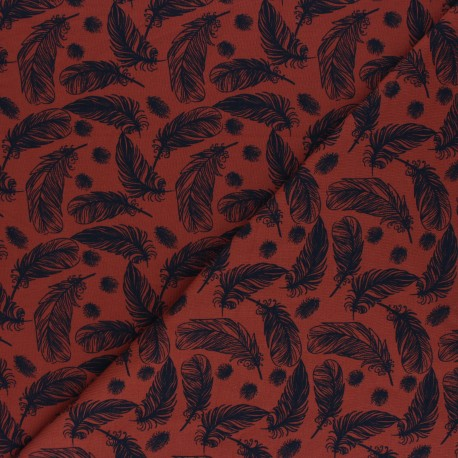 Printed Jersey fabric - off-white Plumes légères x 10cm