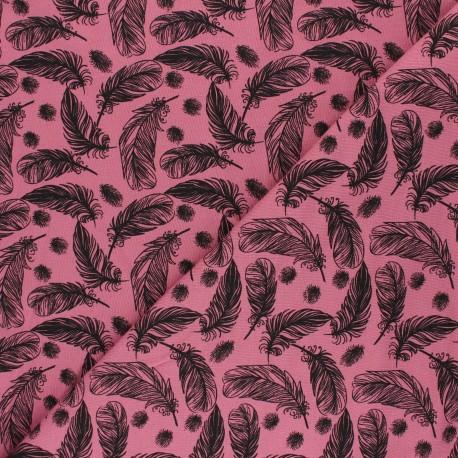 Printed Jersey fabric - dark grey Plumes légères x 10cm