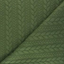 Tissu jersey Torsade - Vert kaki x 10cm