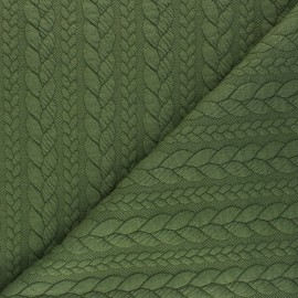 Twist jersey fabric - khaki green x 10cm