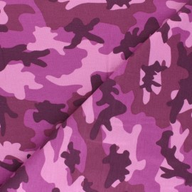 Printed Jersey fabric Army camouflage - red x 10cm