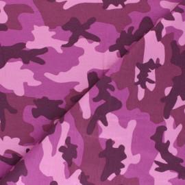 Tissu jersey Army camouflage - rose x 10cm
