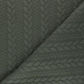 Tissu jersey Torsade - Vert militaire chiné x 10cm