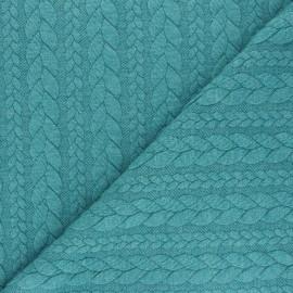 Twist jersey fabric - mottled lagoon blue x 10cm