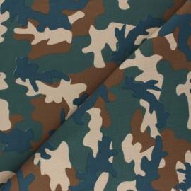 Tissu jersey Army camouflage - marron x 10cm