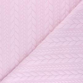 Tissu jersey Torsade - Rose pâle x 10cm