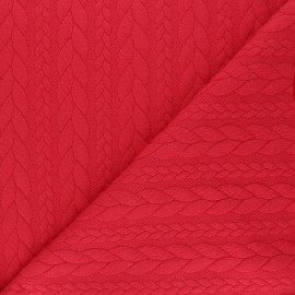 Tissu jersey Torsade - Rouge x 10cm
