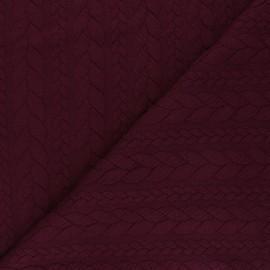Tissu jersey Torsade - Lie de vin x 10cm