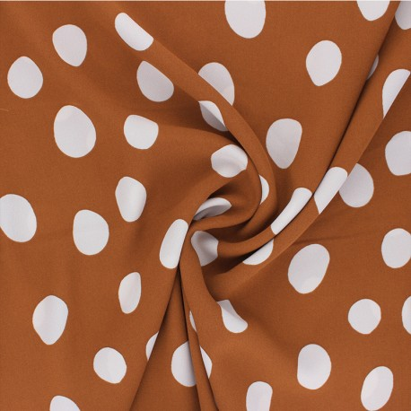 Tissu Crêpe polyester Carmen - cannelle x 10cm