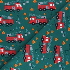 Printed Jersey fabric - green Au feu les pompiers x 10cm
