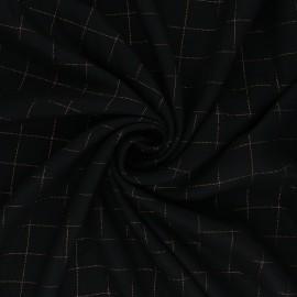 Tissu sergé de viscose Carreaux Lurex Cuivré - noir x 10cm