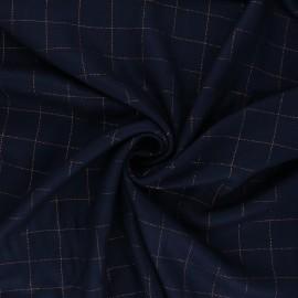 Checked viscose twill fabric - navy blue/copper Lurex x 10cm