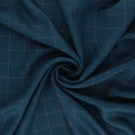 Checked viscose twill fabric - petrol blue/copper Lurex x 10cm