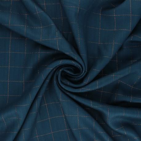 Tissu sergé de viscose Carreaux Lurex Cuivré - bleu pétrole x 10cm