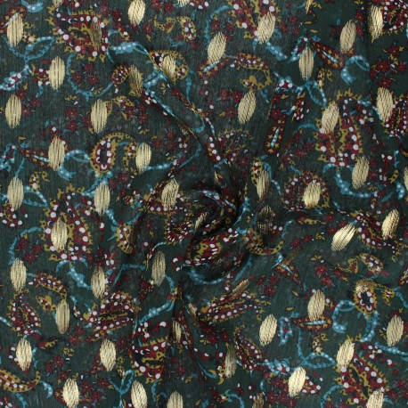 Muslin fabric - dark green Jodhpur x 50cm