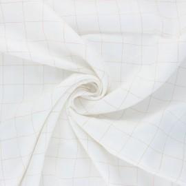 Tissu sergé de viscose Carreaux Lurex Doré - blanc x 10cm