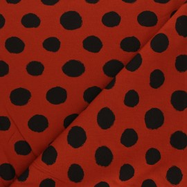 Printed Jersey fabric - red brick Vive les pois x 10cm