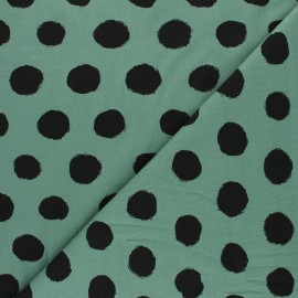 Printed Jersey fabric - sage green Vive les pois x 10cm