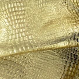 Peau agneau grain croco métallisé or