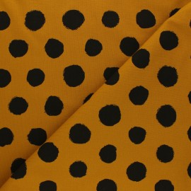 Printed Jersey fabric - mustard yellow Vive les pois x 10cm
