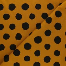 Tissu jersey Vive les pois - jaune moutarde x 10cm