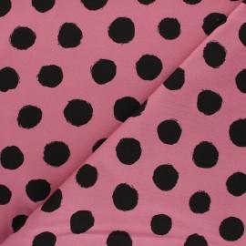 Tissu jersey Vive les pois - rose x 10cm