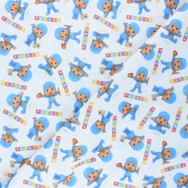 Cretonne cotton fabric - white Pocoyo x 10 cm